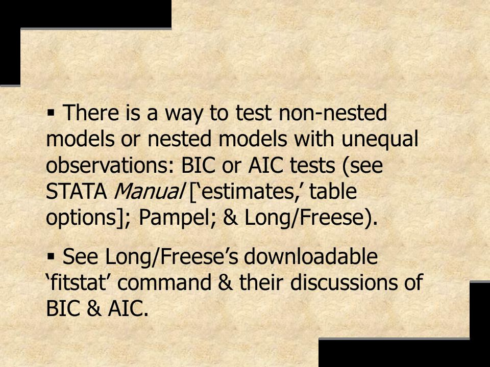 There is a way to test non-nested models or nested models with unequal observations: BIC or AIC tests (see STATA Manual ['estimates,' table options]; Pampel; & Long/Freese).